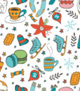 Cute hand drawn seamless pattern of winter related graphics